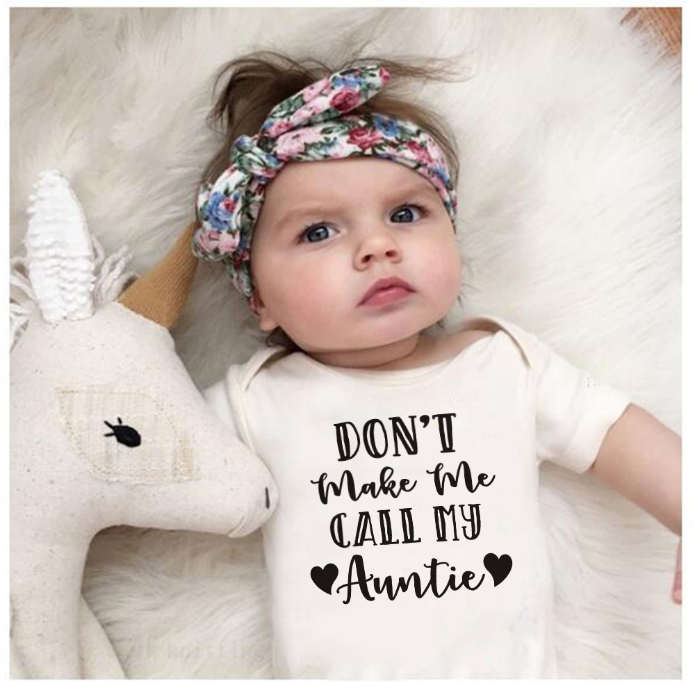 Summer Infant Newborn Baby Boy Girls Cotton Letter DON'T MAKE ME CALL MY AUNTIE Bodysuit Playsuit Baby Grows Outfits