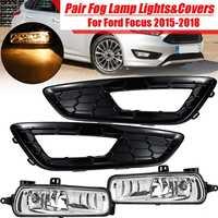 3 Various Style for Focus 2015 2018 1Set 12V H8 Car Front Fog Light Lamp & Cover Kit For Ford DRL Driving Light Frame Decoration