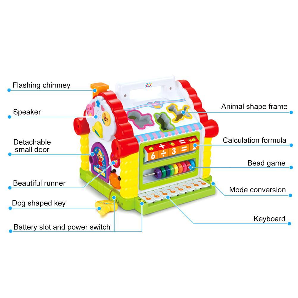 Cube d'activité avec perle labyrinthe drôle maison jouer jouet début d'apprentissage Puzzle cognitif jouet blocs de construction clavier Playset pour bébé - 3