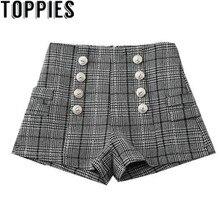aaadce0ddee Women Winter High Waist Plaid Metal Buttons Vintage Shorts Elegant Women  Winter Checkered Shorts(China