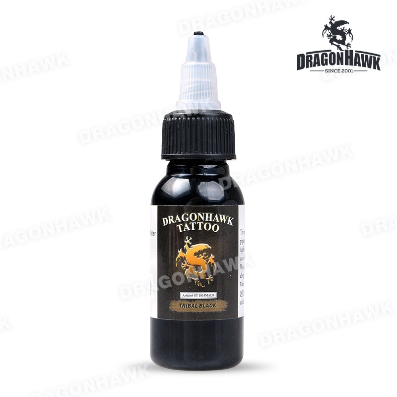 Gratis frakt Dragonhawk Tattoo Ink 1-PACK Black Color Set 1oz flasker Farge 30ml