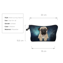 3D Pug Printed Women Cosmetic Bag