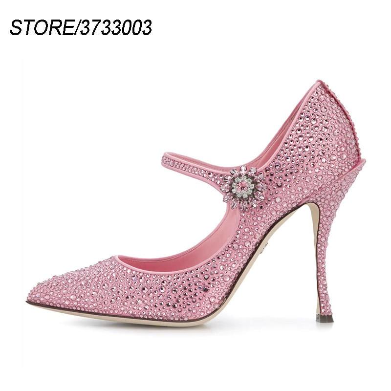 Top Quality Hot Fix Rhinestone Pumps Women Crystal Flower 10cm Stiletto Heel Belt Shallow Party Shoes Woman