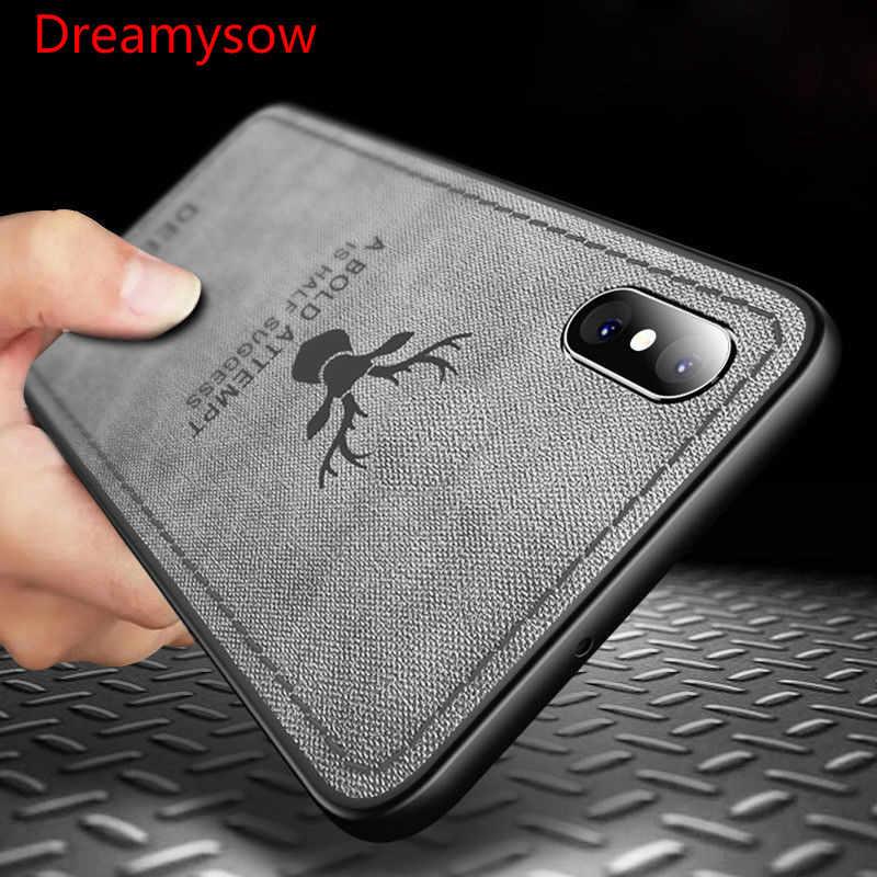 Ультратонкий тканевый Винтажный чехол для iphone 7 8 6 6s Plus X Xs Max Xr, силиконовая дышащая задняя крышка с рисунком оленя, чехол Funda 2019
