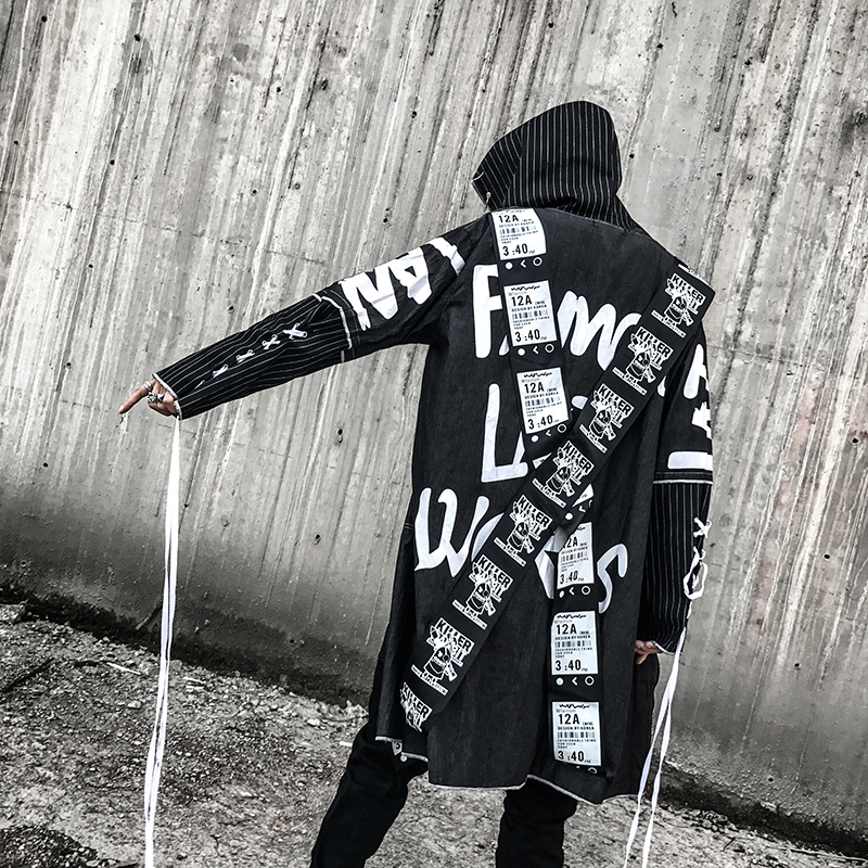 Windbreaker men's long section Korean version of the tide autumn loose trend dark