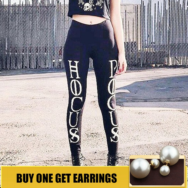 HOUZHOU 2019 Spring Letter Printing Leggings High Waist Pencil Pants Women Black Sexy Skinny Slim Streetwear Elastic Joggers