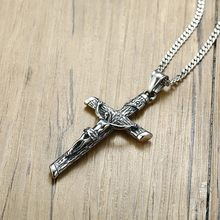 Ancient Silver Crucifix Cross Charms Necklace Pendant Stainless Steel Punk Jewelry For Men Male Jesus Rosary Christening Gift(China)