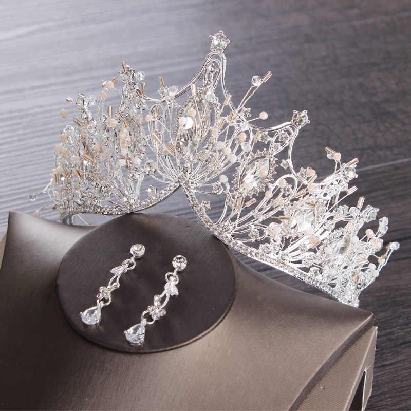 結婚式のティアラセットシルバーの高級ブライダルプリンセスクラウン髪の宝石ヘッドアクセサリーかぶと花嫁誕生日パーティー Hairabnd