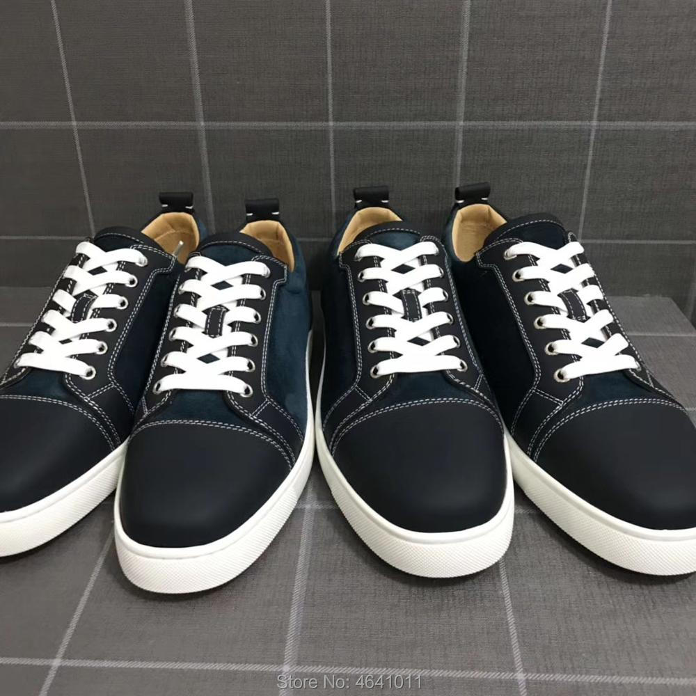 Low Cut Sneakers Leisure cl andgz Lace Up Black blue Cow leather Spikes sports Red bottoms