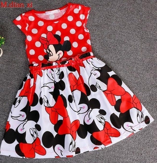 Girls Dress 2018 Summer New Girls 100% Cotton Round Neck Sleeveless Big Dot Minnie Cartoon Short-sleeved Pure cotton Dress 3-7Y
