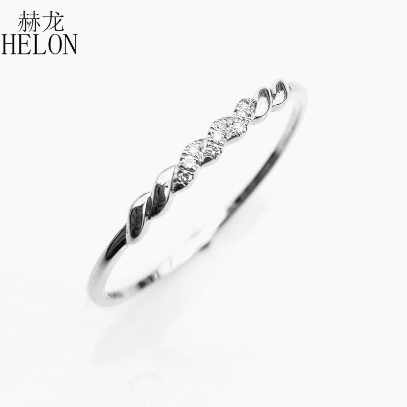 HELON Solide 14 K Weiß Gold (AU585) certified H/SI Runde 100% Echte Natürliche Diamanten Engagement Hochzeit Frauen Edlen Schmuck Ring-in Ringe aus Schmuck und Accessoires bei  Gruppe 3