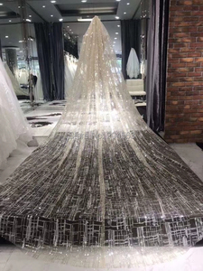 Image 3 - Champagne Wedding Veil Luxury Unique Long Bridal Veils with Comb AX