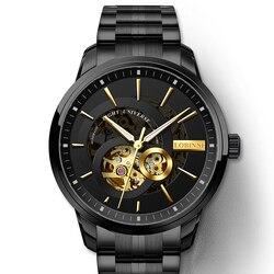 Szwajcaria automatyczny zegarek mężczyźni LOBINNI szkielet mechaniczne zegarki męskie skórzane szafirowe Relogio Masculino wodoodporne L5015 w Zegarki mechaniczne od Zegarki na