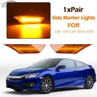1 Pair Automobiles LED Front Side Marker Lights Amber Lamp Turn Signal Light Bulbs for Cars Honda Civic 10th Gen 2016 2018