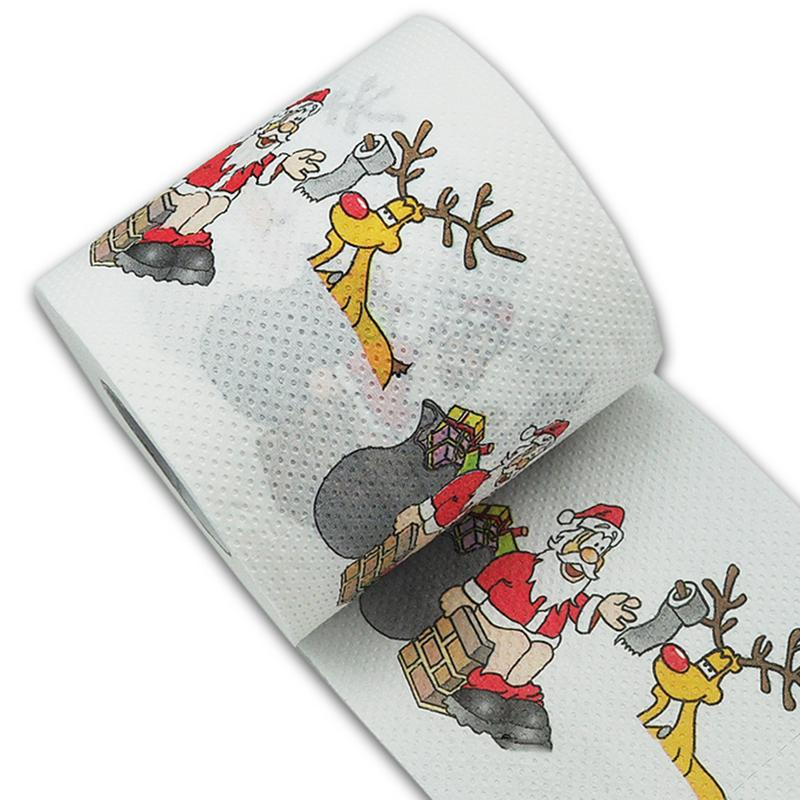 10 * 10 Cm Hot Selling Christmas Pattern Series Roll Paper Prints Funny Toilet Paper Festival Supplies