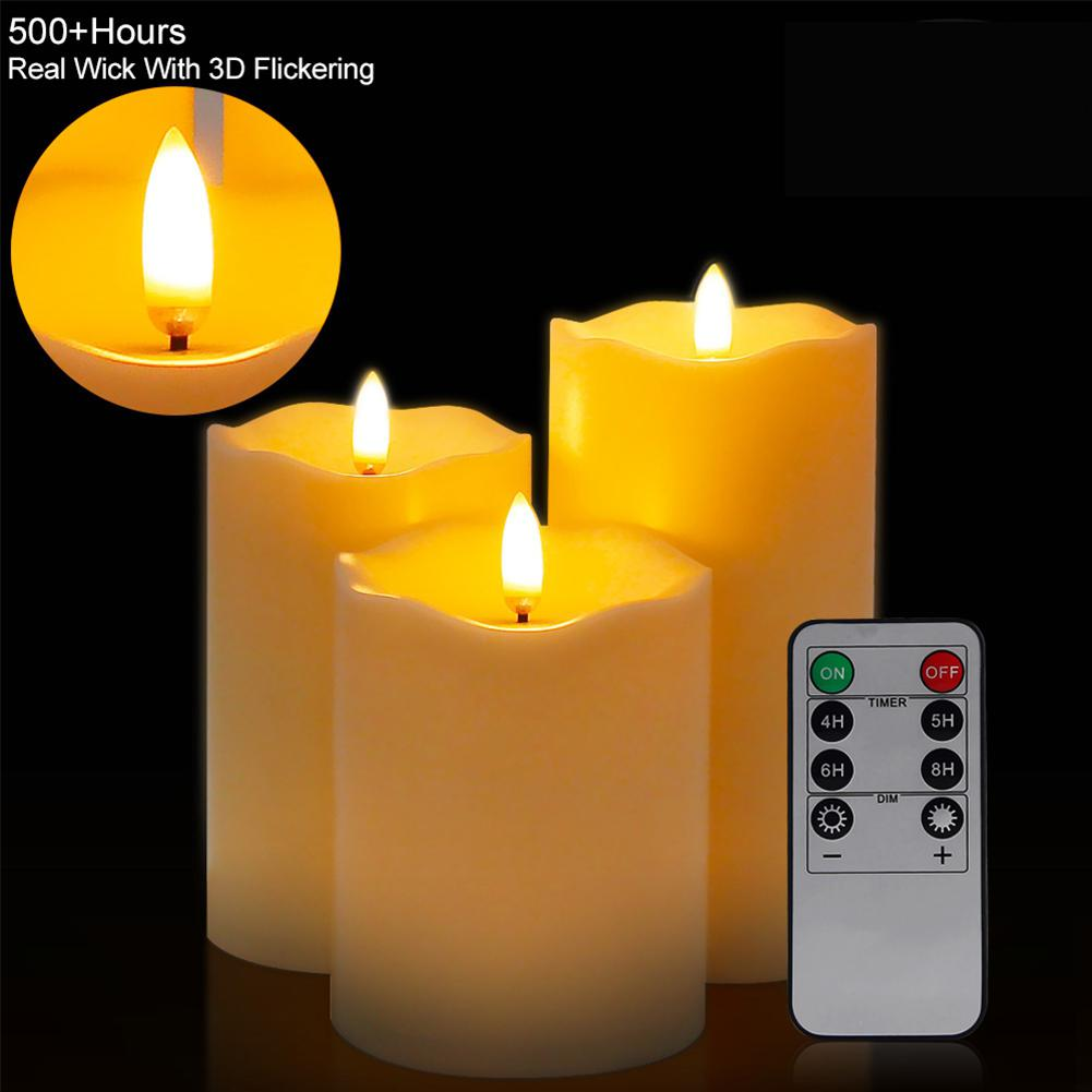 LumiParty 3Pcs/Set Flameless Candle Shape Lamp with Remote Control Warm Yellow Light Night Light Home Party Birthday Decoration