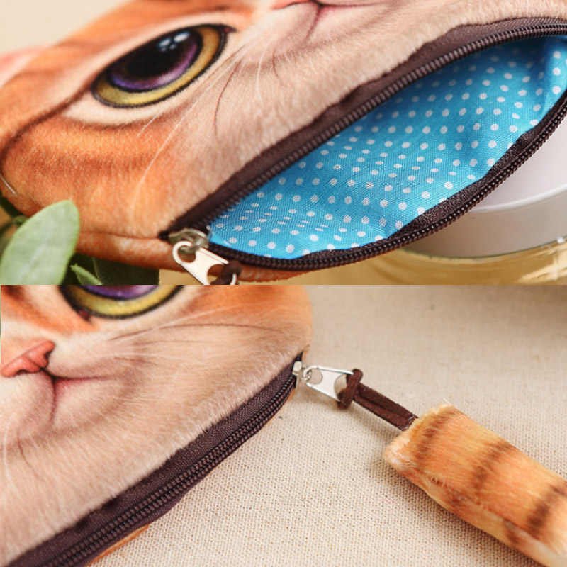 Bolso chave Da Cauda de Gato Impressa de Pelúcia Bolsa Com Zíper Crianças Bolsas Bolsa da Moeda Saco De Armazenamento Titular Fone De Ouvido Cabo de Dados Portátil