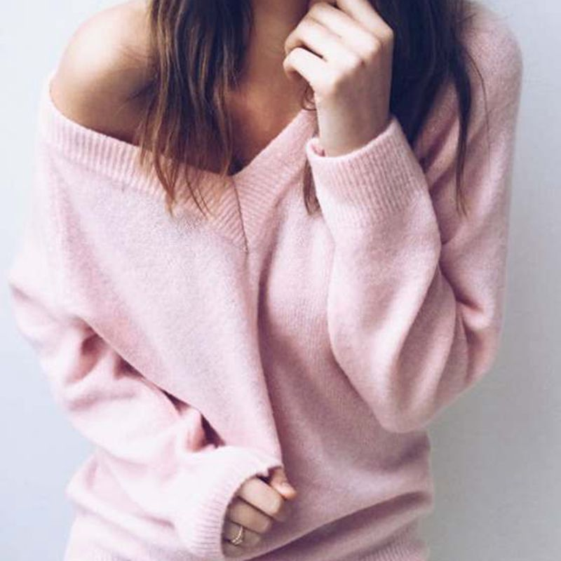 2018 Autumn Knitted Sweater Women V Neck Fashion Solid Long Sleeve Casual Pullover Sweaters Sexy Female Women Pullover in Pullovers from Women 39 s Clothing