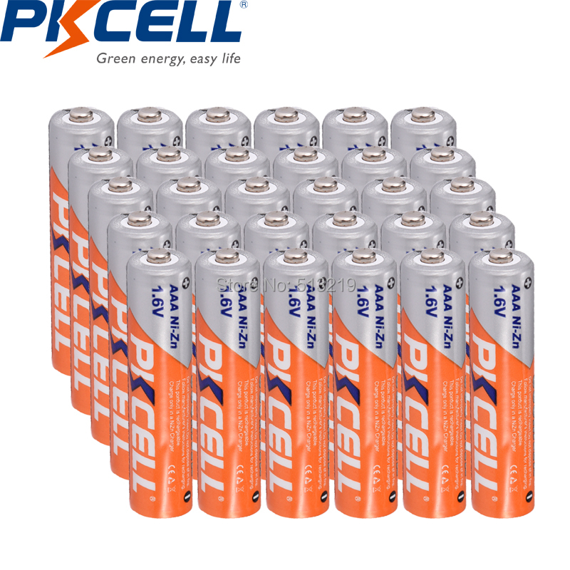 24PCS PKCELL AAA 900mWh battery 1 6v aaa NI ZN rechargeable batteries batteria for camera flashlight