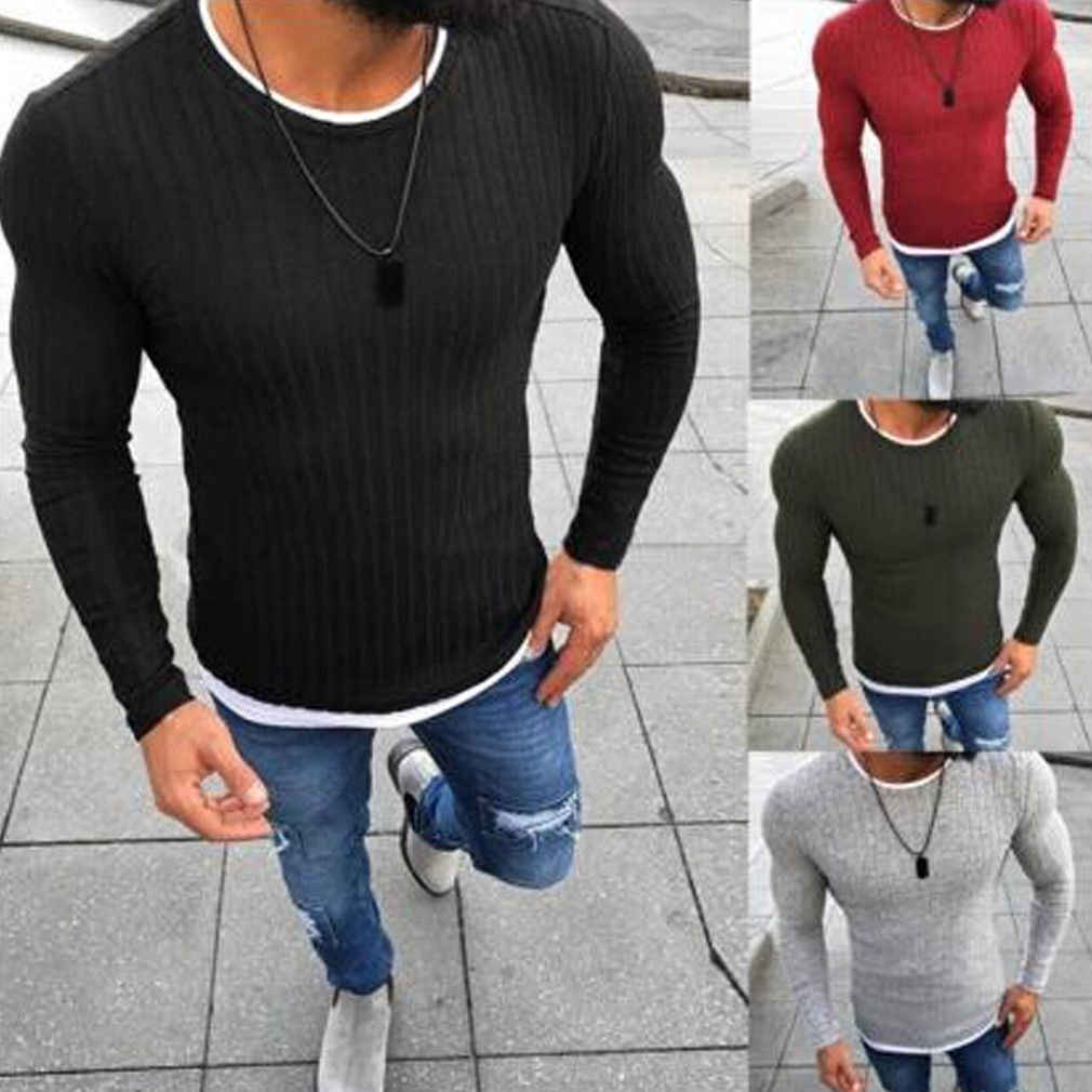 2019 New Style Fashion Hot Men's Slim Fit Long Sleeve Slim Patchwork Casual Tops Skinny O Neck Pullover Sweater