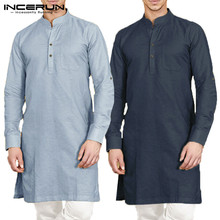 INCERUN Men Shirt Stand Collar Long Sleeve Button Cotton Solid Casual Indian Kurta Suit Muslim Islamic Colthes