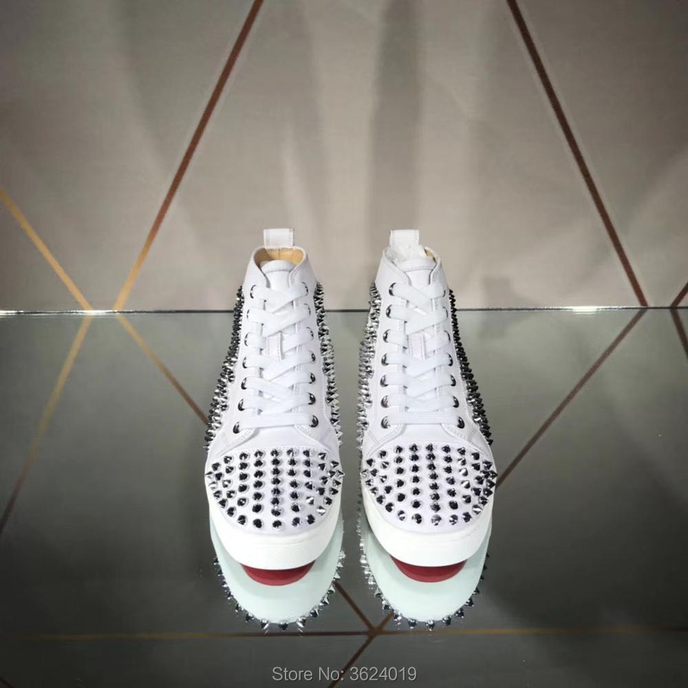 Lacets Top Plein Baskets Mocassins Air Pour Andgz Haute Homme Plates Cl Argent Rouge Chaussures Bas De En Rivets Sports À Blanc Cuir clK1J3uTF