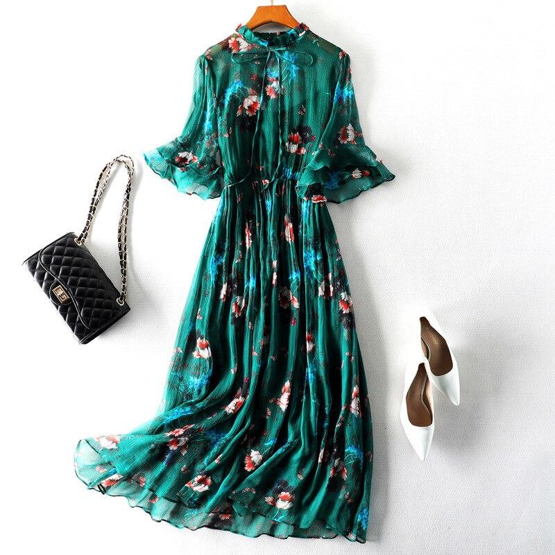High Quality Green Midi Dress 2019 Summer 100% Pure Silk Print Floral Elegant Dress Casual Style Vacation Beach Dress Vestidos Women's Clothing