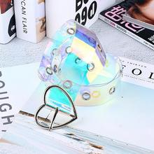 Hot New Women Waist Belt Laser Metal Buckle Casual Decoration Pin Transparent Fa
