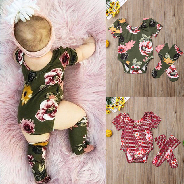 Cute Baby Girls Floral Summer Cotton Outfits Short Sleeve Flower Bodysuit Pullover Jumpsuit Stockings 2Pcs Toddler Clothes 0-18M