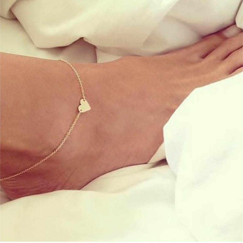 2 ピースアンクレットハート形裸足かぎ針サンダル足脚ブレスレットアンクレットシンプルなミニマゴールド/シルバー色