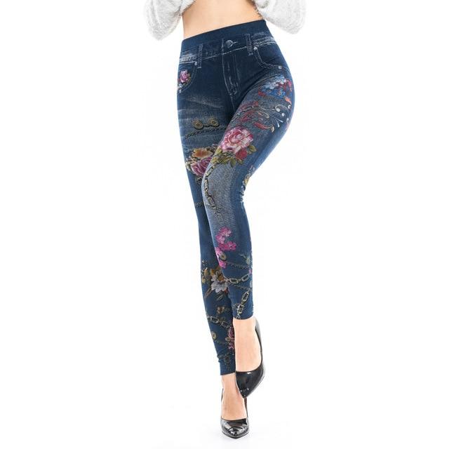 84c4d1b0a8cb2 Faux Denim Jeans Leggings Butterfly Flower Print Leggings Women Imitation  Jean Slim Fitness Leggings Elastic Seamless