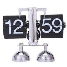 Caliente-Vintage Retro Flip reloj escala moderna Digital Auto página girar doble soporte Flip relojes hogar Decoración mesa de escritorio reloj de cuarzo