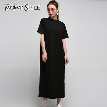 f621fd239 Mujeres botón abajo Vestidos casuales de manga larga cuello cinturón  dividir camisa Maxi vestido ...