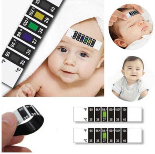 Toddler Test Thermometer Sticker Newborn Baby Forehead Strip Head Thermometer Fever Body Test Temperature Check