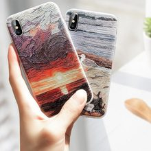 CASEIER Landscape Painting Phone Case For iPhone X XS MAX XR Soft TPU Case For iPhone XS MAX 8 7 6 6S 5 5S SE Capa Funda Shell цена и фото