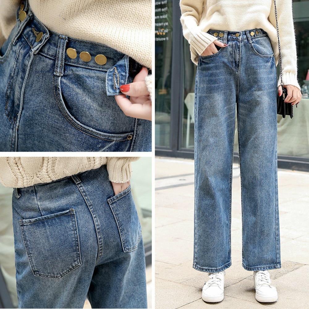 Spring Summer 2019 Women Straight Denim Pants Blue High Waist Streetwear Jeans Woman Casual Vintage Boyfriend Mom Jeans in Jeans from Women 39 s Clothing