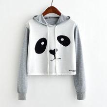 2019 New Fashion Cute Womens  Cartoon Panda Print Pullover Long Sleeve Loose patchwork Sweatshirt Coat Tops
