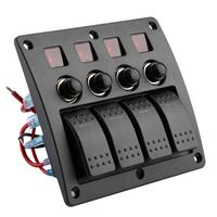 switch button 4 Gang Rocker Red LED Switch Panel Circuit Breaker for Boat Car Marine button window