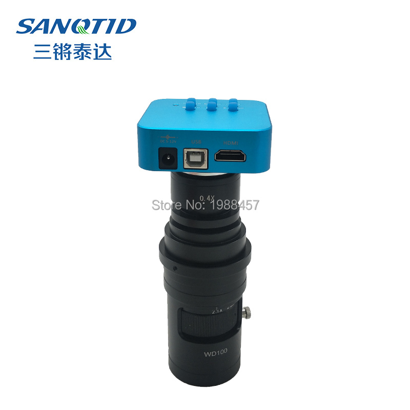 16MP Full HD 1080P 60FPS HDMI <font><b>USB</b></font> Industrial digital <font><b>Microscope</b></font> Camera for BAG Soldering Smartphone IC repair+0.4X Lens image