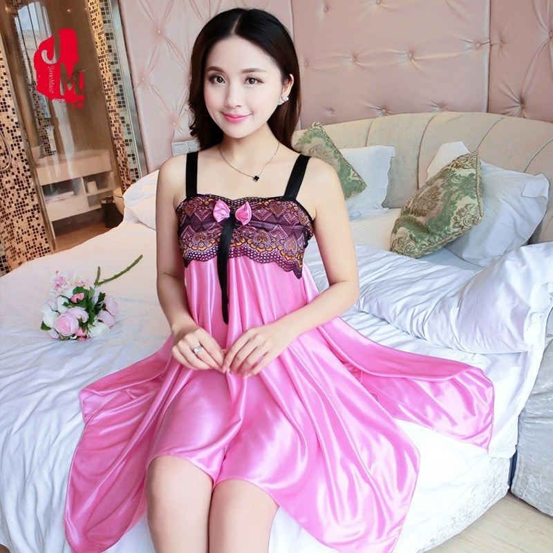 Lace Nightdress Silk Strap Sleepwear Women Satin Summer   Nightgown   Sexy   Sleepshirt   Solid Women Satin Nightwear Sleep Home Dress