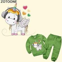 ZOTOONE Cute Unicorn Patch Heat Transfer Vinyl Iron on Transfers for Kids Clothing DIY T-shirt  Dresses Applique Thermal Press