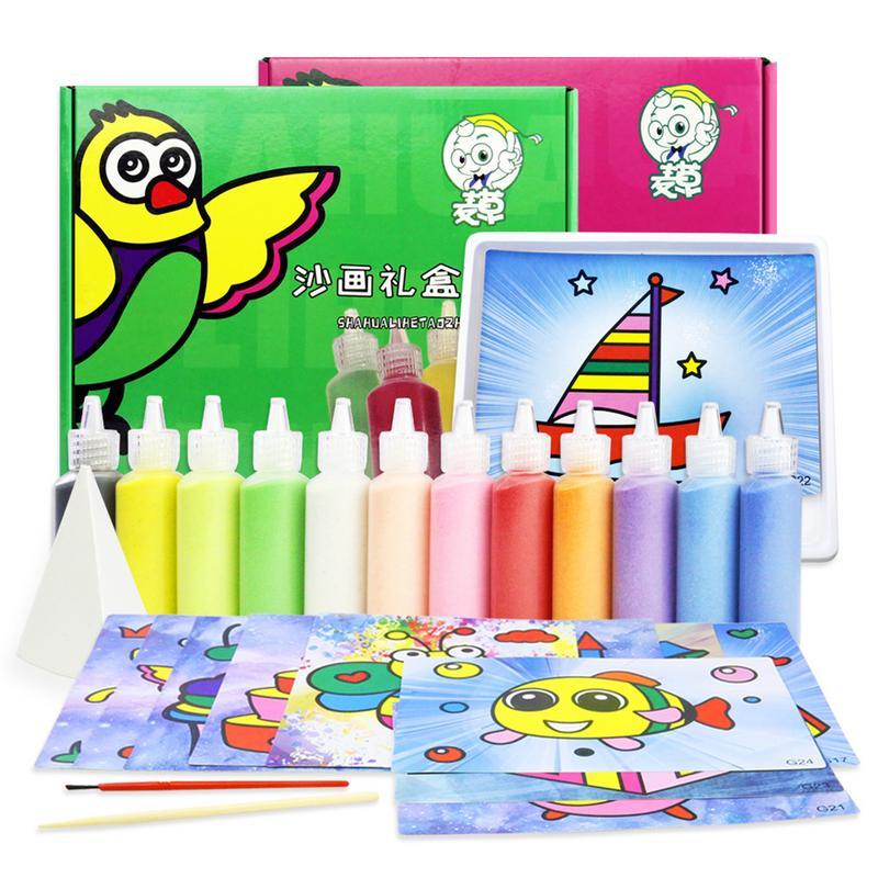 Children's Sand Painting Set DIY Color Sand Painting Color Sand For Boys Girls Toy Kindergarten Puzzle Handmade Sand Painting