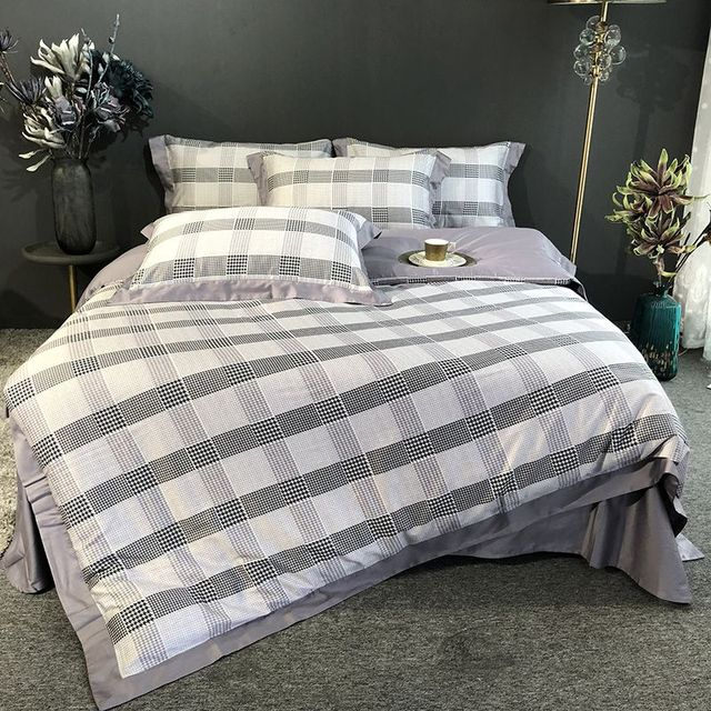Black And White Plaid Bedding Sets Luxury Egyptian Cotton Bedlinen Bed Linen High Quality Duvet Cover Queen King Size