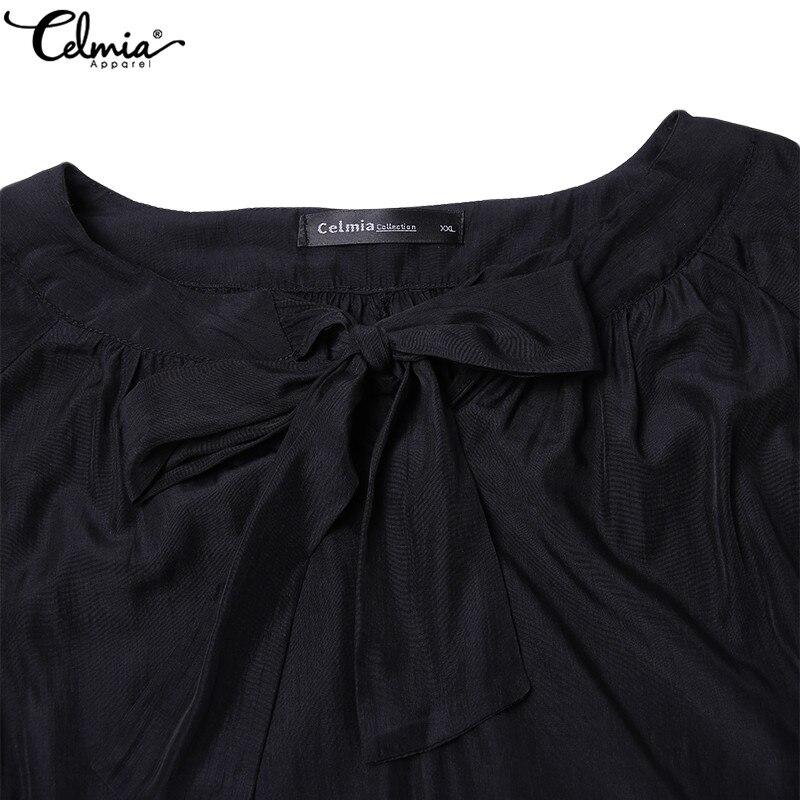 Mujeres 2019 Camisas Casual Plus Nuevo Mujer Oficina Larga Negro Gasa Arco Túnica Tops Primavera Blusa Manga Camisa Blusas De Celmia Tamaño 0Yvdw1qYx