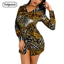 Pickyourlook Women Dress Shirt Long Sleeve Leopard Belt Button Female Mini Dresses Turn-Down Sexy Club Party Lady Bodycon Dress long sleeve button down mini shift dress