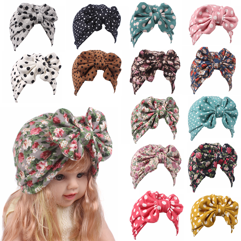 Hot 1PC Baby Caps Floral Hair Band Bowknot Autumn Girls Clothes Accessories Spring Turban Baby Hat