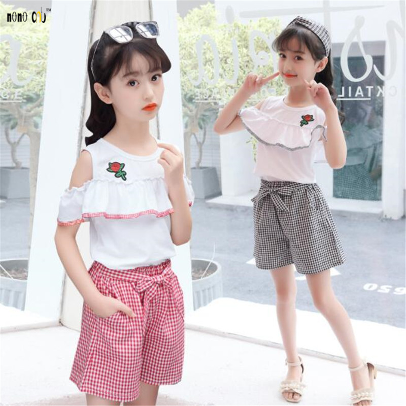 Summer time Ladies Units Two Items Youngsters Garments Set T Shirt & Pants Flower Plaid Youngsters Clothes four 5 6 7 eight 9 10 11 12 13 14 Years...