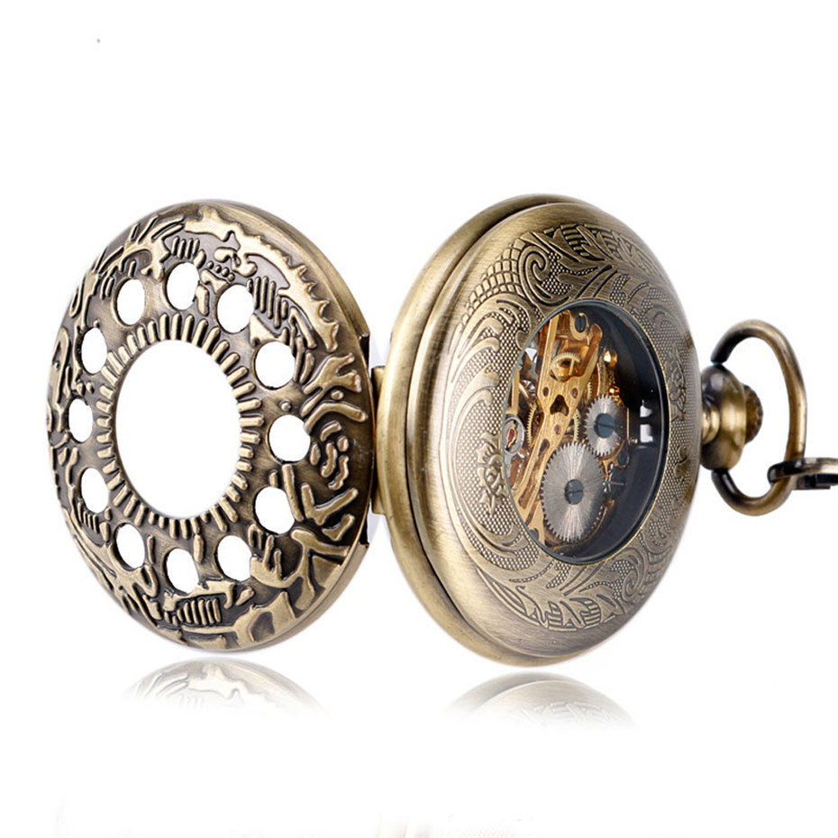 Купить с кэшбэком Retro Bronze Hollow Half Hunter Pocket Watch Mechanical Hand Winding Roman Numerals Display Vintage Pocket Pendant Clock Unisex