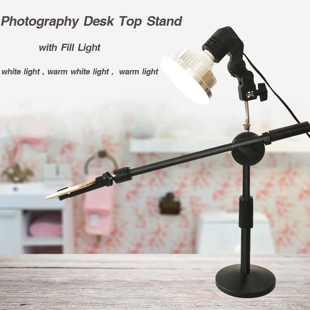 Support Flexible pour ordinateur de bureau, support de téléphone portable avec lumière de remplissage pour téléphone, appareil photo vivant, accessoire de photographie