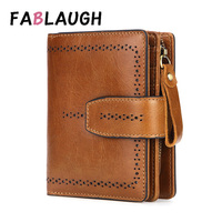 FABLAUGH RFID Fashion Hollow Out Genuine Leather Women Wallet Purses Coin Purse Female Small Portomonee Lady Money Bag